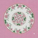 92cm幅 源右衛門窯 赤絵更紗唐花紋 綿シャンタン風呂敷/ピンク 和柄 和文様