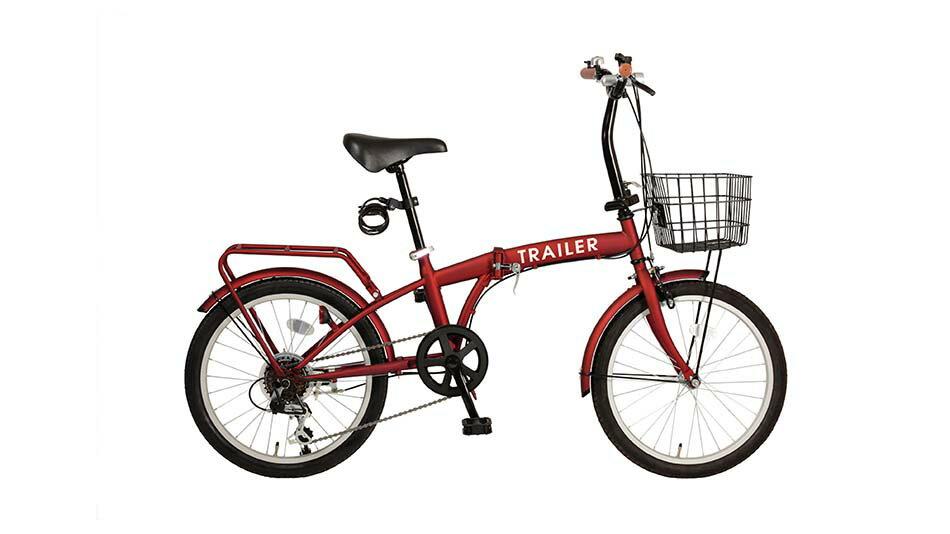 TRAILER20インチ折りたたみ自転車 6段変速カゴ/カギ/ライト付 レッド色BGC-F20-RD