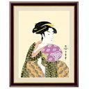 浮世絵 額絵 美人画 「 団扇を持つおひさ 」 作:喜多川歌麿 (F6サイズ・額飾り:52×42cm) G4-BU031