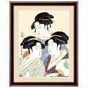 浮世絵 額絵 美人画 「 寛政の三美人 」 作:喜多川歌麿 (F6サイズ・額飾り:52×42cm) G4-BU035