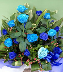 """青いバラ""""&グリーンアレンジメント10000レビュー2件青バラ(薔薇) 花言葉は・・・能/有り得ない/神の祝福/奇跡【花】【_包装】【_メッセ入力】プレゼントに◎【05P05Sep15】 当店フラワーデザイナーが生け込むおすすめお商品!ブルーローズ アレンジ青いバラ 青バラ 生花"""