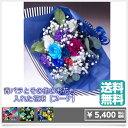 花束5000青バラと他の花も混ぜてオリジナル【世界に一つの贈り物♪お誕生日出産祝いなどの記念に残るサプライズな贈り物】青い薔薇 青いバラ 青バラ