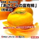 福岡県から産地直送 JA筑前あさくら  あさくらの富有柿  <貯蔵品> 5キロ Lサイズ (20玉)