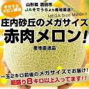 【送料無料】JAそでうら 産地直送品!庄内砂丘 メガサイズ赤肉メロン超大玉4〜5玉・合計8キロ以上!