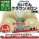 送料無料 北海道より産地直送 JAきょうわ らいでんクラウンメロン 青肉 8キロ(2