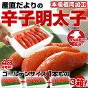 【送料無料】福岡加工「辛子明太子」ゴールデンサイズ 1本もの 280g (6〜7本)×3箱