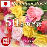 お祝いの50本のバラの花束(ミックス40cm×50本)豪華ラッピング無料 /結婚記念日 花 女性 誕生日 フラワー ギフト バースデー プレゼント メッセージカード付き お祝い 延