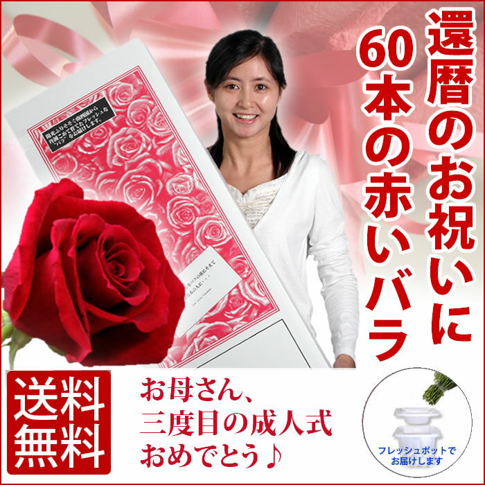 還暦祝い 60本の赤いバラ(50cm×60本)無料ラッピング 送料無料★★父 母 60歳 誕生日 お祝い プレゼント バラの花束 薔薇 フラワー ギフト メッセージカード付き 延命剤無料 退職祝い スーパーSALE