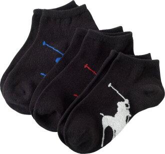 拉爾夫 · 勞倫 (Ralph Lauren) bigponigiuniauncle 短襪 3 腳套 (黑色) / 襪子 BigPony