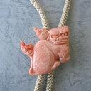 桃珊瑚狛犬の彫りのループタイ/メンズアイテム/『宝石サンゴ』