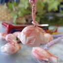 【縁起物】ピンク珊瑚のふぐ(フグ)の根付け正絹/根付/和小物