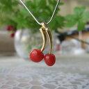 ショッピングさくらんぼ 高知産赤珊瑚の可愛いサクランボのペンダントトップ/K18/ダイヤ0.01ct/『宝石珊瑚』