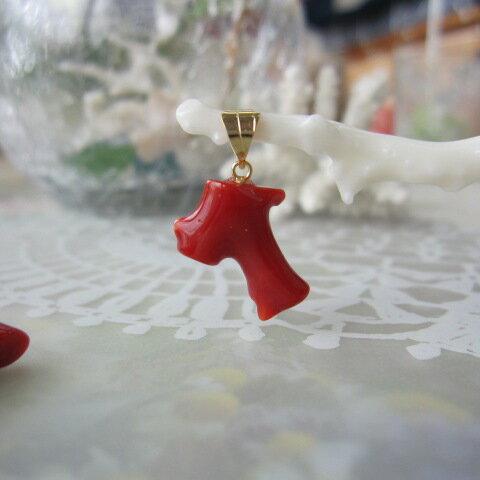 【最高級】高知産血赤珊瑚枝のペンダントトップK18/プレゼントに