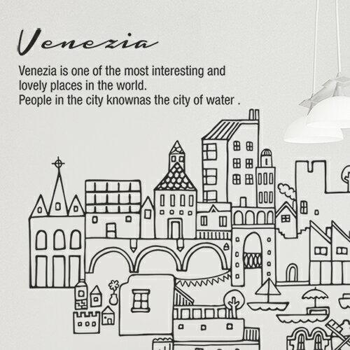 ホームインテリア _ ウォールステッカー、イラスト、イタリア、市街、街並み、景色