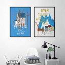 ポスター 50×70cm 北欧 インテリア 海外 デザイン アート プリント おしゃれ ビビットカラー 鹿 アルファベット【ノルウェーの森】※フレームなし