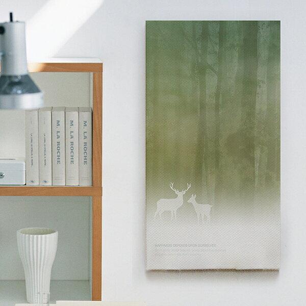 ファブリックパネル_ 木、ナチュラル、森、動物、緑、自然