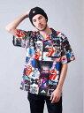 [Rakuten Fashion]THEROLLINGSTONES/B-TRSパネルレコードシャツ THE ROLLING STONES ジャックローズ シャツ/ブラウス 半袖シャツ ブラック【送料無料】