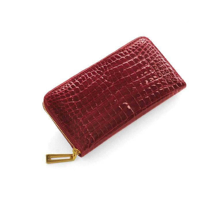 クロコダイル 長財布 シャイニング加工 センター取り 真鍮 ラウンドファスナー バイカラー/レディース ダークレッド 赤 送料無料まるで本物の宝石のような輝きクロコダイルと真鍮のロングウォレット 手元をエレガントに(N