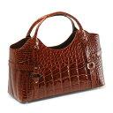 送料無料!! クロコダイル シャイニング 2WAY ハンドバッグ カラー:ライトブラウン[ブラウン(茶色)] バッグ バック bag かばん 鞄 Crocodileハンドバック handbag