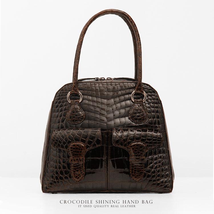 クロコダイル バッグ ハンドバッグ シャイニング /レディース (No.9855)(JRAマーク付き 日本製クロコダイルバッグ)