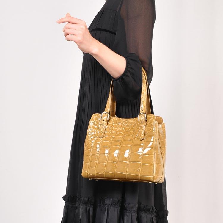 クロコダイル ハンドバッグ シャイニング加工 日本製 / レディース (No.06000329)(JRAマーク付き 日本製クロコダイルバッグ)