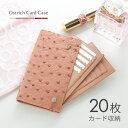オーストリッチ カードケース 20枚収納 革小物/レディース本革 オーストリッチレザー 小さい 財布 レザー小物 カードケース 薄型 軽量 ギフト プレゼント送料無料