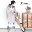 Filomo/フィローモ ウール ラップコート フォックス襟 ラム パイピング 一枚仕立て ライトグレー/カーキブラウン フリーサイズ ギフト ..