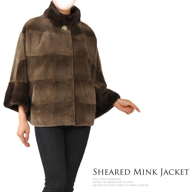 シェアードミンク ジャケット ミンクトリミング 七分袖 ブラウン レディース 結婚式 ミンクコート(毛皮)軽量秋 冬 ギフト プレゼント