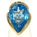 【中古】 K18ブルートパーズダイヤリング#15 【無料ギフトラッピング】【Aランク】