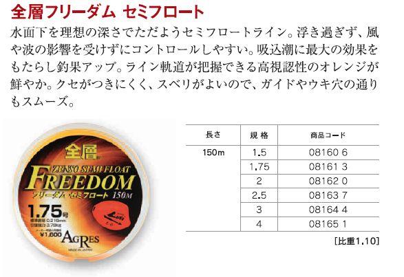 キザクラ(Kizakura) ナイロン道糸 全層 フリーダムセミフロート150m 1.5〜4号 (kiza-D)