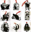メール便送料無料 【9枚セット】 黒猫 ステンレス金属 しおり ブックマーク ラッキーキャット 猫/