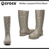 【ウィークデイクーポンご利用で5%OFF 9/30(金)17:59まで】【レディース】クロックス ウェリー レパード プリント ブーツ ウィメンズCrocs Wellie Leopard Print Boot Womensブーツ 長靴 レインブーツ/送料無料