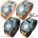 KC'S (ケイシイズ) レザーブレス・ウォッチ(時計) -インレイ マルチサラッペ- ターコイズ文字盤仕様 KSR555 【送料無料】プレゼント ギフト