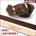 AVIREX (アビレックス) スカル型押し レザーベルト/AX4109 -長さ調節できます♪- 【smtb-k】【ky】【楽ギフ_包装】