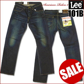 LEE (Lee ) - 101B/Straight (straight ) - Used536 / dark because of the distressed blue LM4010-American Riders 2-