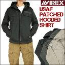 【送料無料】 AVIREX (アビレックス) USAF PATCHED HOODED SHIRT -パッチド フードシャツ/長袖ジップシャツ- 6155159 ...