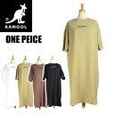 KANGOL カンゴール ロゴ刺繍 半袖ワンピース ドロップショルダー ロングTシャツ レディース YW030N