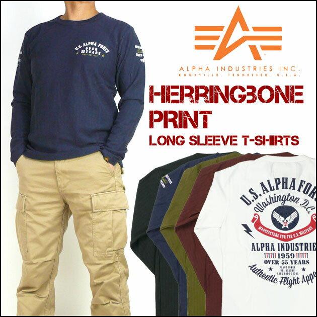 ALPHA アルファ メンズ Tシャツ ヘリンボーン 長袖プリントTシャツ TC1215 プレゼント ギフト