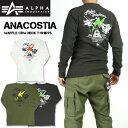 ALPHA アルファ メンズ Tシャツ 長袖 ヘビーワッフル クルーネックTシャツ ANACOSTIA TC1383
