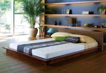 アジアンテイストアバカシングルベッド、ポケットコイルスプリングマットレス付き