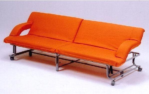 折りたたみベット&ソファーベッド オレンジ色 新生活応援しますご指定日のお届けも承ります