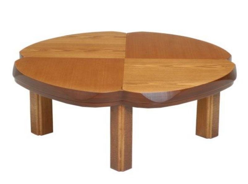こたつ コタツテーブル クローバー形100 天然杢タモ KURO-BA- ブラウン色、ナチュラル色の2色対応 国産こたつ/コタツ クローバー形100 KURO-BA-