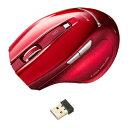 ブルーLEDマウス ワイヤレスマウス 2.4GHz 5ボタン BlueLEDセンサー搭載 着脱式の超小型レシーバー レッド [MA-NANOH11R]【サンワサプライ】