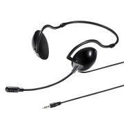 4極対応 ヘッドセット 両耳タイプ ネックバンドタイプ タブレット・スマホ対応 ブラック [MM-HS403BK]【サンワサプライ】