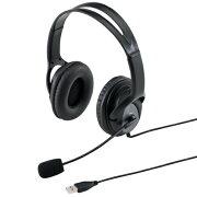 USBヘッドセット 両耳タイプ ブラック パソコン対応 ヘッドセット ヘッドフォン [MM-HSUSB17BK]【サンワサプライ】