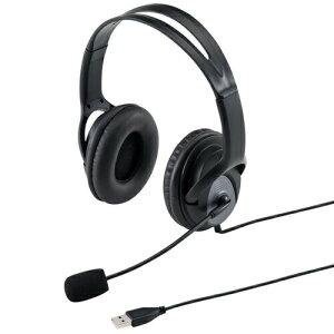 USBヘッドセット 両耳タイプ ブラック パソコン対応 ヘッドセット ヘッドフォン [MM-HSUSB17BK]【サンワサプライ】【送料無料】