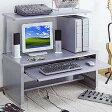 【送料無料】パソコンデスク ロータイプ 幅100cm シルバー キーボードテーブル付 [PDK-1052LSVK]【サンワサプライ】