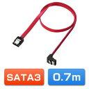 SATAケーブル 0.7m 高速転送SATA3対応 下L型 ...