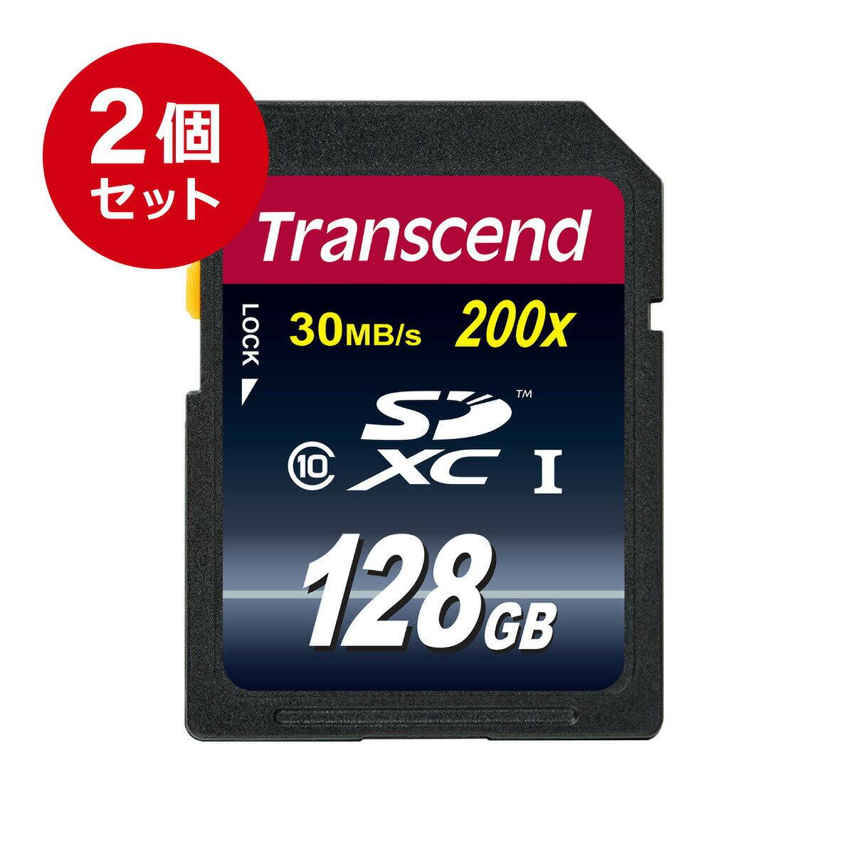 【送料無料】【まとめ割 2個セット】Transcend SDカード 128GB Class10 Ultimate SDXC 永久保証 メモリーカード クラス10 [TS128GSDXC10]
