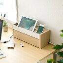 ケーブルボックス 卓上サイズ 木目調 電源タップ コード 収納ボックス スマホスタンドつき [200-CB006]